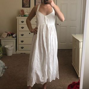 NWOT Free People Embroidered Button-Up Midi Dress